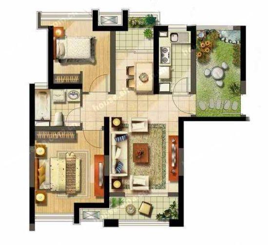 95平米2房户型