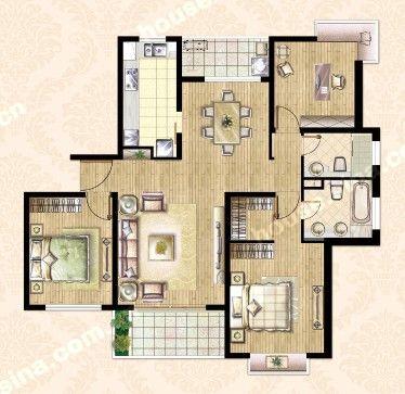 143平米3房户型图
