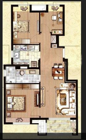 90平米2+1房户型图,户型整体呈长方形布局,南北通透.客厅与